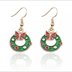 Christmas Wreath Enameled Dangle Earrings